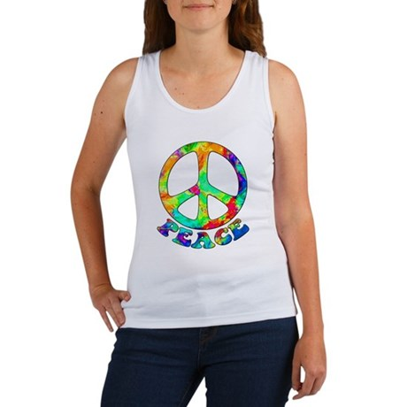 Rainbow Pool Peace Symbol Women's Tank Top