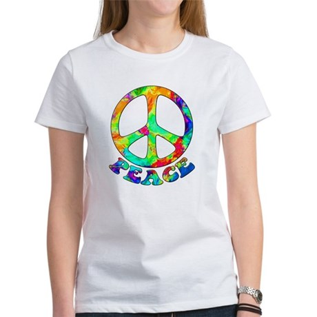 Rainbow Pool Peace Symbol Women's T-Shirt