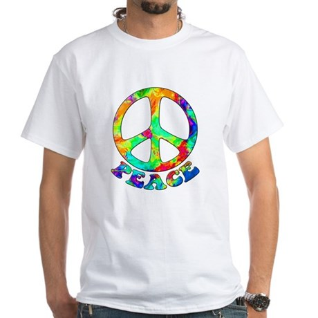 Rainbow Pool Peace Symbol White T-Shirt