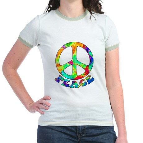 Rainbow Pool Peace Symbol Jr. Ringer T-Shirt