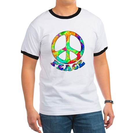 Rainbow Pool Peace Symbol Ringer T