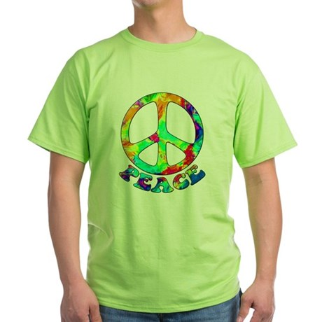 Rainbow Pool Peace Symbol Green T-Shirt