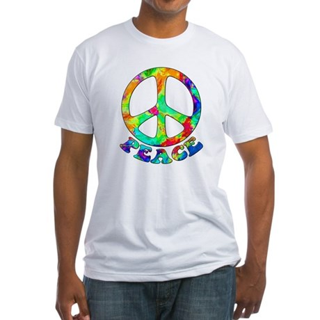 Rainbow Pool Peace Symbol Fitted T-Shirt