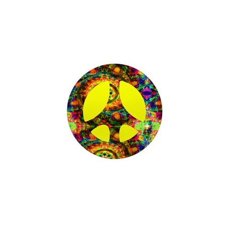 Yellow Painted Peace Mini Button