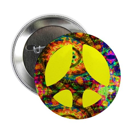Yellow Painted Peace Button