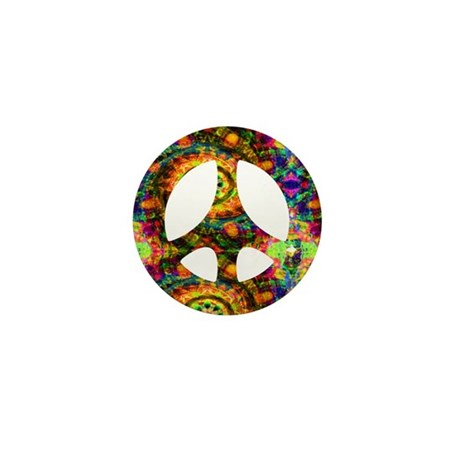 Painted Peace Symbol Mini Button