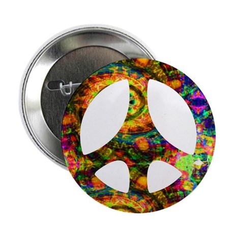 "Painted Peace Symbol 2.25"" Button (10 pack)"