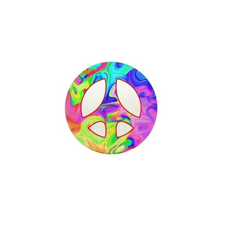 Groovy Peace Symbol Mini Button