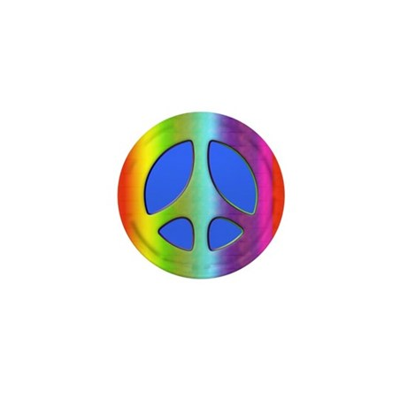 Rainbow Peace Symbol Mini Button