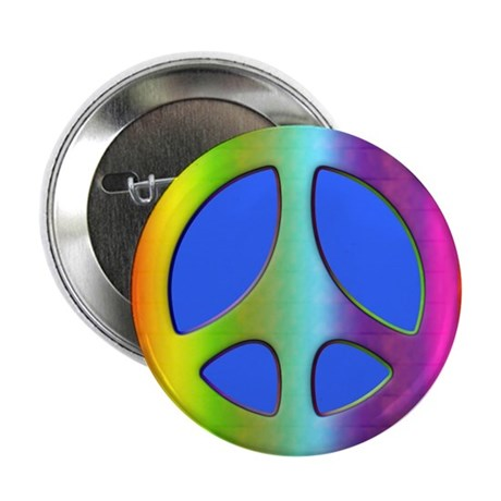 "Rainbow Peace Symbol 2.25"" Button (10 pack)"