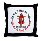 With God Cross HEART DISEASE Throw Pillow