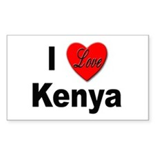 I Love Kenya Rectangle Decal