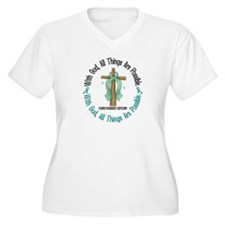 With God Cross OVARIAN CANCER T-Shirt