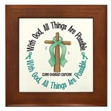 With God Cross OVARIAN CANCER Framed Tile
