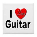 I Love Guitar Tile Coaster