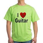 I Love Guitar Green T-Shirt