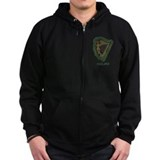 Irish Harp and Shamrock Zip Hoody