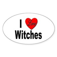 I Love Witches Oval Decal