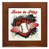 Born to Play Baseball Framed Tile