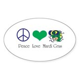 Peace Love Mardi Gras Oval Decal
