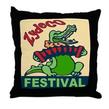 Zydeco Gator Throw Pillow