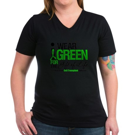 I Wear Green SCT Survivor Women's V-Neck Dark T-Sh