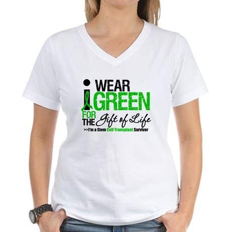 I Wear Green SCT Survivor Women's V-Neck T-Shirt