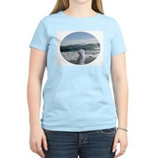 Maltese On the beach Women's Pink T-Shirt