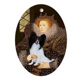 Queen & her Papillon Oval Ornament
