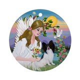 Angel and Papillon Ornament (Round)