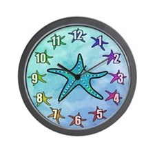 Colorful Starfish Wall Clock With Numbers