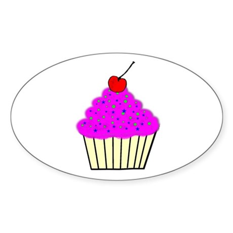 Cute Cupcakes! Oval Sticker