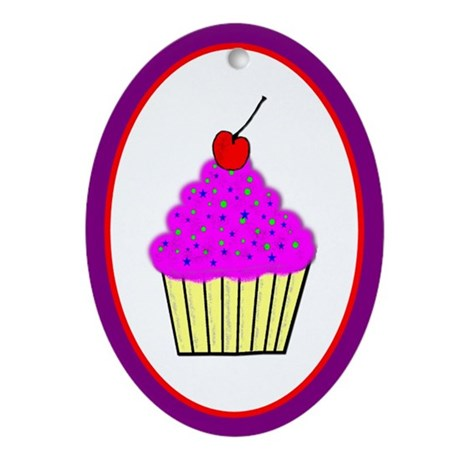Cute Cupcakes! Oval Ornament