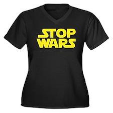 Stop Wars (A) Women's Plus Size V-Neck Dark T-Shir