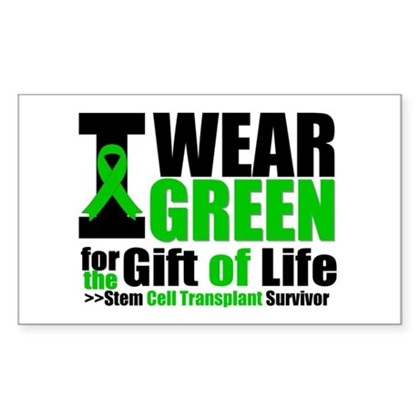 SCT I Wear Green Rectangle Sticker 50 pk)