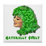 Shamrock Hair Naturally Curly Girl Tile Coaster