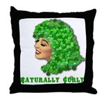 Shamrock Hair Naturally Curly Girl Throw Pillow