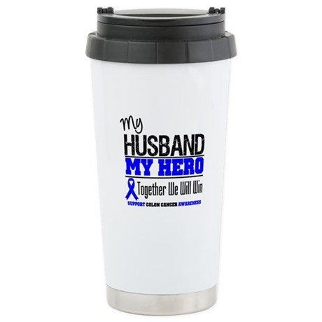 ColonCancerHero Husband Ceramic Travel Mug