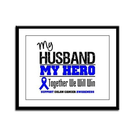 ColonCancerHero Husband Framed Panel Print