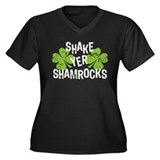 Shake Yer Shamrocks Women's Plus Size V-Neck Dark