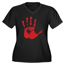 Red Handed Women's Plus Size V-Neck Dark T-Shirt