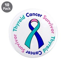 "Thyroid Cancer Survivor 3.5"" Button (10 pack)"