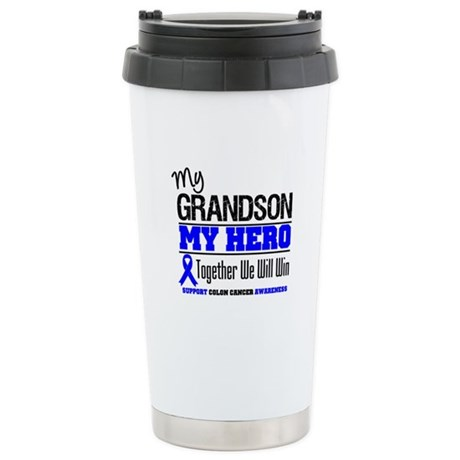 ColonCancerHero Grandson Ceramic Travel Mug