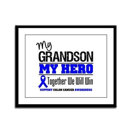 ColonCancerHero Grandson Framed Panel Print