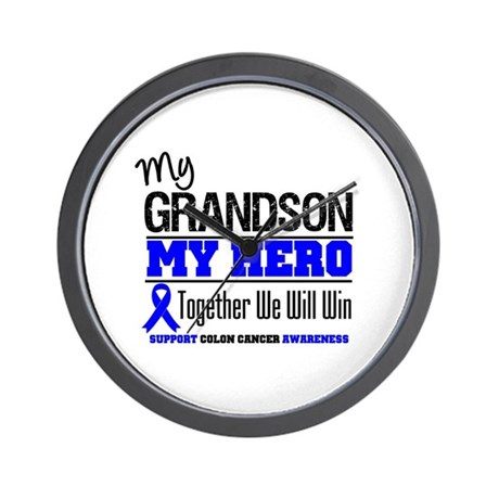ColonCancerHero Grandson Wall Clock