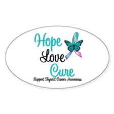 ThyroidCancerHopeLoveCure Oval Sticker (10 pk)