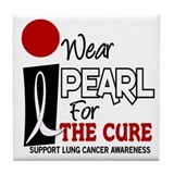 I Wear Pearl For The Cure 9 Tile Coaster