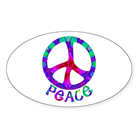 Flowery Peace Symbol Sticker (Oval)