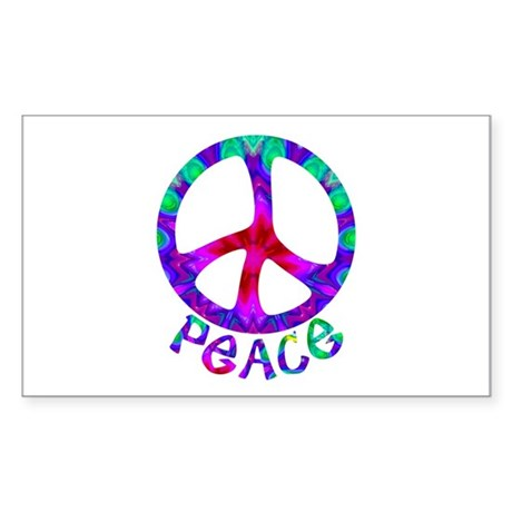 Flowery Peace Symbol Sticker (Rectangle)