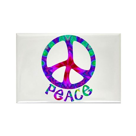 Flowery Peace Symbol Rectangle Magnet